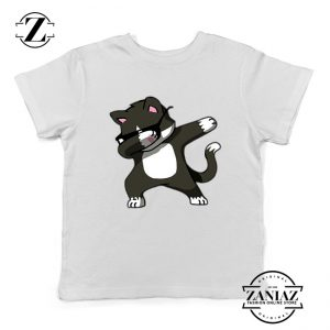 Cartoon Cat Style Youth Tshirt Cat Lover Kids Shirt Size S-XL White