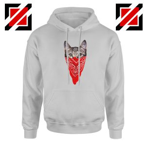 Cat Gangster Hoodie Funny Animal Cheap Hoodie Size S-2XL Sport Grey