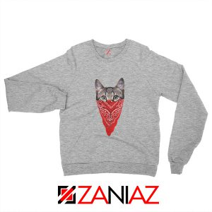 Cat Gangster Sweatshirt Funny Animal Sweatshirt Size S-2XL Sport Grey