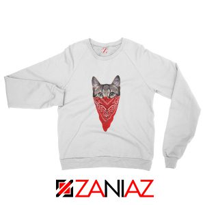 Cat Gangster Sweatshirt Funny Animal Sweatshirt Size S-2XL White