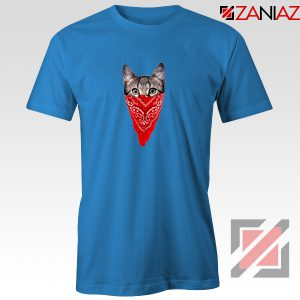 Cat Gangster T-Shirt Funny Animal Tee Shirt Size S-3XL Blue