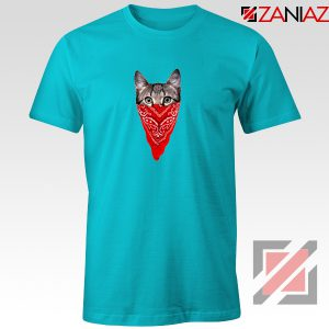 Cat Gangster T-Shirt Funny Animal Tee Shirt Size S-3XL Light Blue