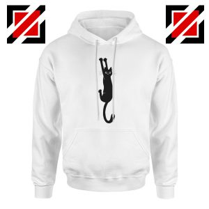 Cat Holding On Best Hoodie Funny Animal Hoodie Size S-2XL White
