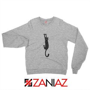 Cat Holding On Best Sweatshirt Funny Animal Sweatshirt Size S-2XL Sport Grey