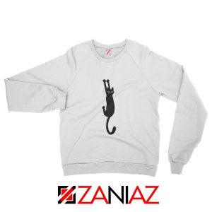 Cat Holding On Best Sweatshirt Funny Animal Sweatshirt Size S-2XL White