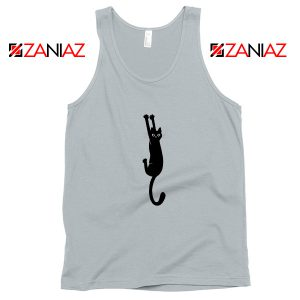 Cat Holding On Best Tank Top Funny Animal Tank Top Size S-3XL Silver