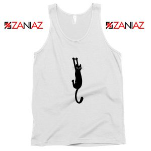 Cat Holding On Best Tank Top Funny Animal Tank Top Size S-3XL White