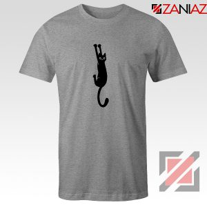 Cat Holding On Best Tshirt Funny Animal Tee Shirt Size S-3XL Sport Grey