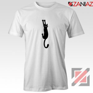 Cat Holding On Best Tshirt Funny Animal Tee Shirt Size S-3XL White