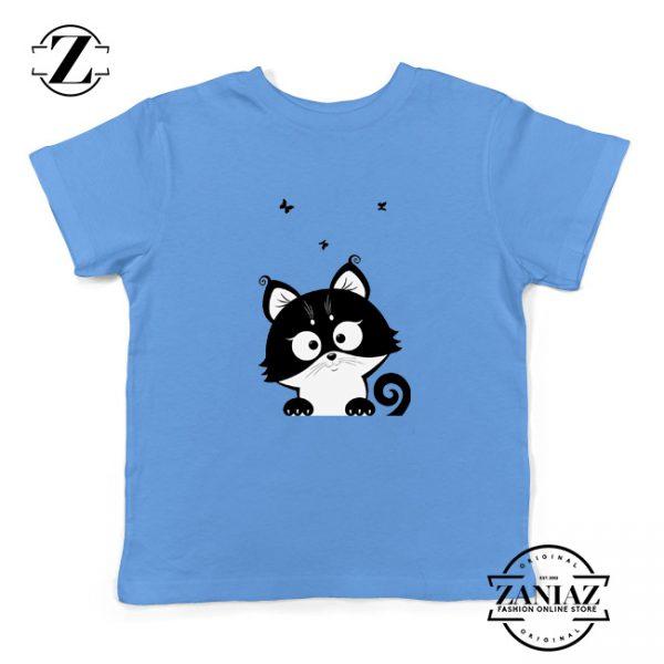 Cat Silhouette Kids Shirt Funny Cat Lover Kids T-Shirt Size S-XL Light Blue