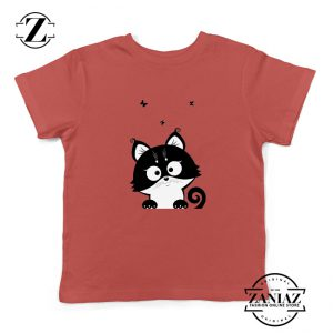 Cat Silhouette Kids Shirt Funny Cat Lover Kids T-Shirt Size S-XL Red