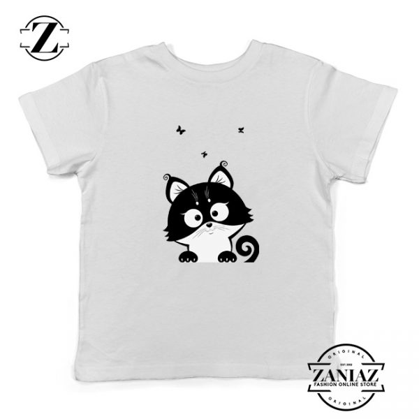 Cat Silhouette Kids Shirt Funny Cat Lover Kids T-Shirt Size S-XL White