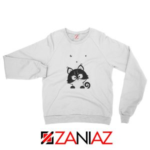 Cat Silhouette Sweatshirt Funny Cat Lover Sweatshirt Size S-2XL White