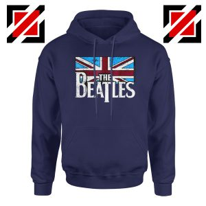 Cheap The Beatles British Flag Hoodie Music Hoodie Size S-2XL Navy Blue