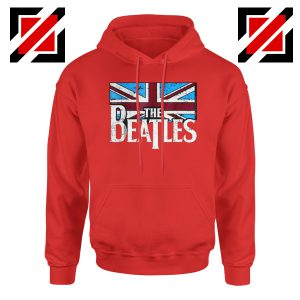 Cheap The Beatles British Flag Hoodie Music Hoodie Size S-2XL Red