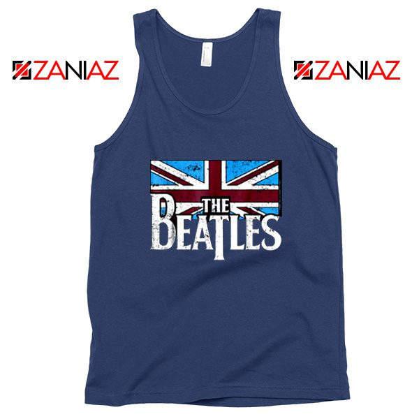 Cheap The Beatles British Flag Tank Top Music Tank Top Size S-3XL Navy Blue