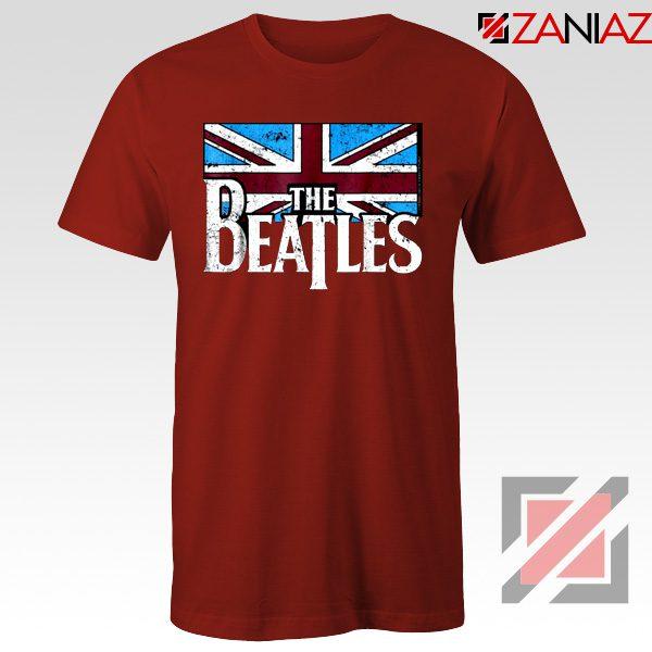 Cheap The Beatles British Flag Tee Shirt Music T-Shirt Size S-3XL Red