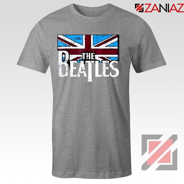 Cheap The Beatles British Flag Tee Shirt Music T-Shirt Size S-3XL Sport Grey