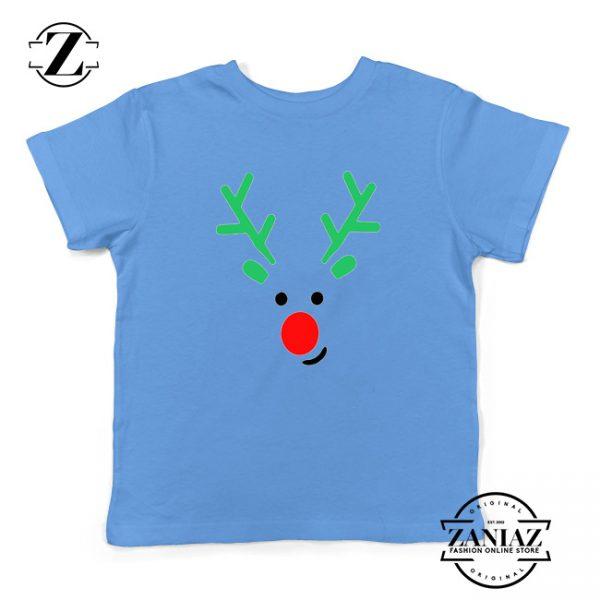 Christmas Reindeer Youth Shirt Merry Christmas Kids Shirt Light Blue