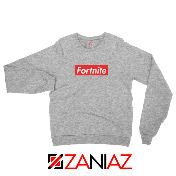Fortnite Supreme Parody Sweatshirt Funny Sweatshirt Size S-2XL Sport Grey