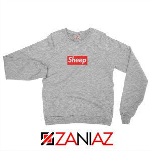 Funny Sheep Sweatshirt Supreme Parody Best Sweatshirt Size S-2XL Sport Grey