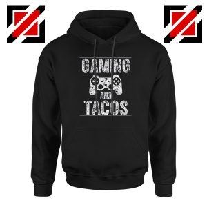 Gaming And Tacos Hoodie Video Gamer Gift Hoodie Size S-2XL Black