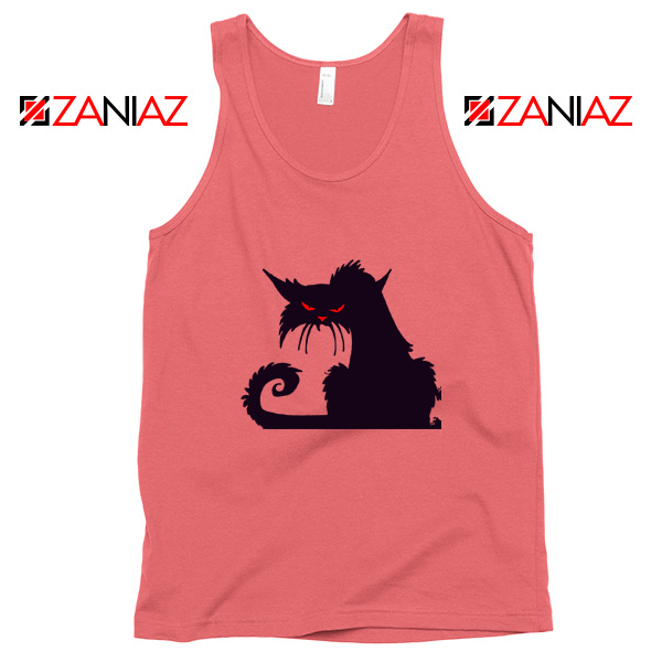 Halloween Cat Design Tank Top Animal Lover Tank Top Size S-3XL Coral