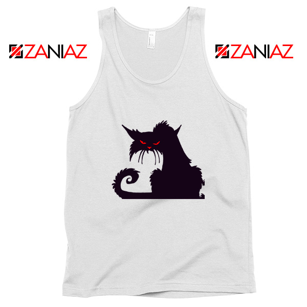 Halloween Cat Design Tank Top Animal Lover Tank Top Size S-3XL White