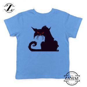 Halloween Cat Kids T-Shirt Animal Lover Youth Shirt Size S-XL Light Blue