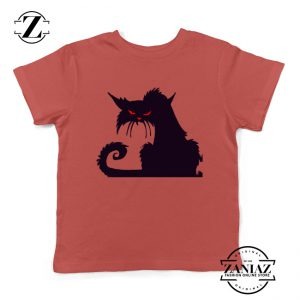 Halloween Cat Kids T-Shirt Animal Lover Youth Shirt Size S-XL Red