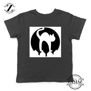 Halloween Cat Silhouette Youth Shirt Cat Lover Kids Shirt Black