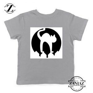 Halloween Cat Silhouette Youth Shirt Cat Lover Kids Shirt Grey