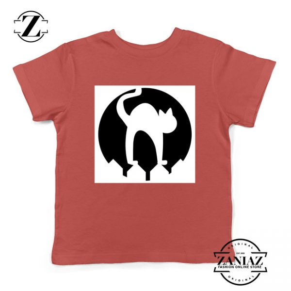 Halloween Cat Silhouette Youth Shirt Cat Lover Kids Shirt Red