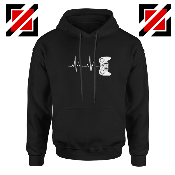 Heartbeat Gamer Hoodie Video Game Lover Gift Hoodie Size S-2XL Black