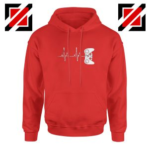 Heartbeat Gamer Hoodie Video Game Lover Gift Hoodie Size S-2XL Red