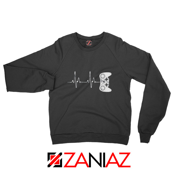 Heartbeat Gamer Sweatshirt Video Game Lover Gift Sweatshirt Black