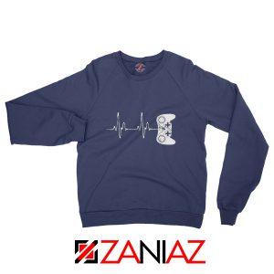 Heartbeat Gamer Sweatshirt Video Game Lover Gift Sweatshirt Navy Blue