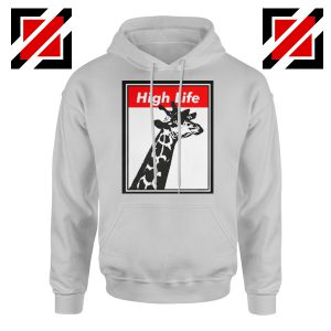 High Life Giraffe Hoodie Funny Animals Women Hoodie Size S-2XL Sport Grey