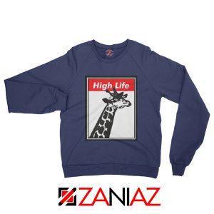 High Life Giraffe Sweatshirt Funny Animals Women Sweatshirt Navy Blue