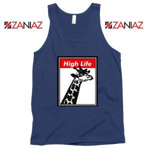 High Life Giraffe Tank Top Funny Animals Women Tank Top Size S-3XL Navy Blue
