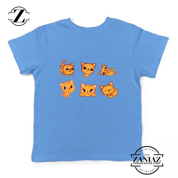 Kitten Cute Kids Shirt Cat Lover Kids Tee Shirt Size S-XL Light Blue