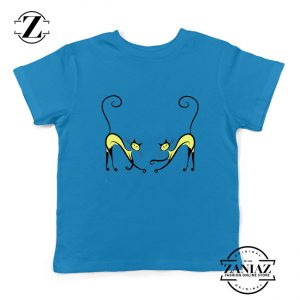 Kitten Twins Gift Youth Tshirt Cat Lover Gift Kids Tee Shirt Size S-XL Blue