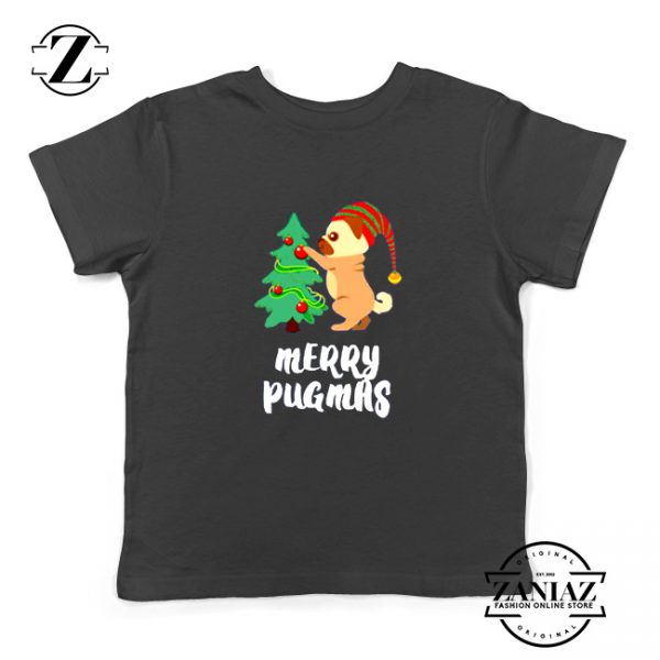 Merry Pugmas Gift Kids Shirt Christmas Youth Tshirt Size S-XL Black