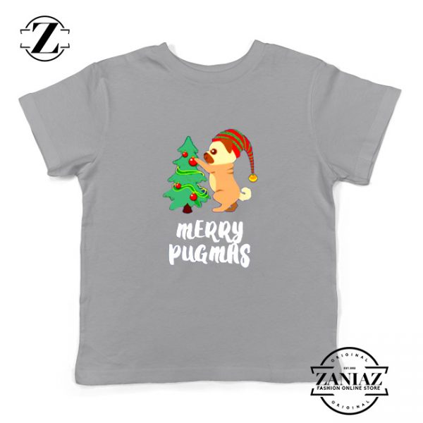 Merry Pugmas Gift Kids Shirt Christmas Youth Tshirt Size S-XL Grey