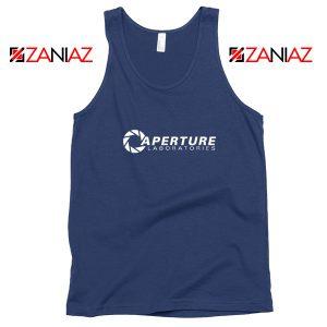 Portal 2 Game Tank Top Aperture Logo Tank Top Size S-3XL Navy Blue