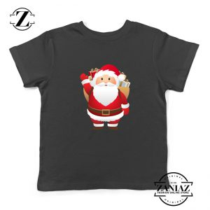 Santa Claws Kids T-Shirt Funny Christmas Kids Shirt Size S-XL Black