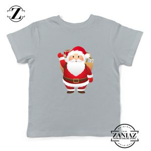 Santa Claws Kids T-Shirt Funny Christmas Kids Shirt Size S-XL Grey