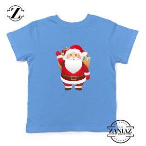 Santa Claws Kids T-Shirt Funny Christmas Kids Shirt Size S-XL Light Blue