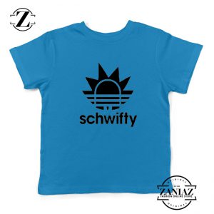 Schwifty Adidas Parody Kids T Shirt Rick And Morty Blue