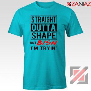 Straight Outta Shape Funny Gym T-Shirt Workout Tee Shirt Size S-3XL Light Blue
